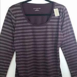 Ann Taylor T-Shirt Stretch Burgundy Silver Stripe